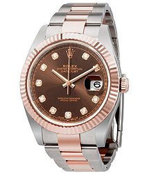 Rolex Datejust 41 Chocolate Diamond Dial Steel and 18K Everose Gold Oyster Men's Watch
