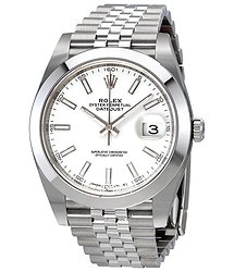 Rolex Datejust 41 White Dial Stainless Steel Jubilee Men's Watch