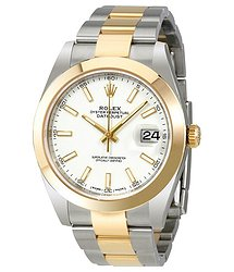Rolex Datejust 41 White Dial Steel and 18K Yellow Gold Oyster Bracelet Men's Watch