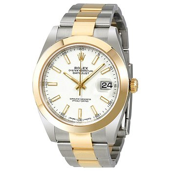Купить часы Rolex Datejust 41 White Dial Steel and 18K Yellow Gold Oyster Bracelet Men's Watch  в ломбарде швейцарских часов