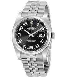 Rolex Datejust Black Concentric Dial Stainless Steel Jubilee Men's Watch
