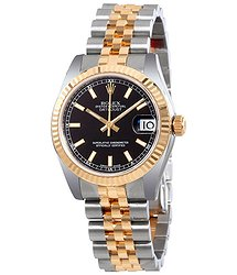 Rolex Datejust Lady 31 Black Dial Stainless Steel and 18K Yellow Gold Jubilee Bracelet Automatic Watch
