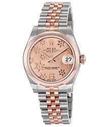 Rolex Datejust Lady 31 Pink Raised Floral Motif Dial Stainless Steel and 18K Everose Gold Jubilee Bracelet Automatic Watch