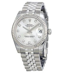 Rolex Datejust Lady 31 Silver With 11 Diamonds Dial Stainless Steel Jubilee Bracelet Automatic Watch