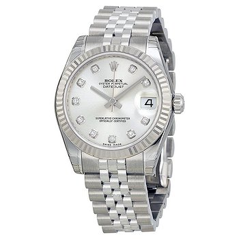 Купить часы Rolex Datejust Lady 31 Silver With 11 Diamonds Dial Stainless Steel Jubilee Bracelet Automatic Watch  в ломбарде швейцарских часов