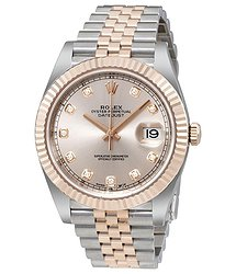 Rolex Datejust Sundust Diamond Dial Steel and 18 Everose Gold Men's Watch
