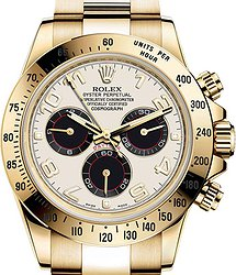 Rolex Daytona Cosmograph 40mm Yellow Gold 116528 IVORY DIAL BLACK SUBDIALS