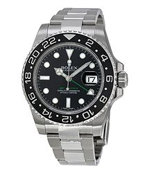Rolex GMT Master II Black Index Dial Oyster Bracelet Steel Men's Watch