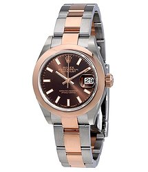 Rolex Lady Datejust Chocolate Dial Steel and 18K Everose Gold Oyster Watch