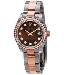 Rolex Lady Datejust Chocolate Diamond Dial Ladies Steel and 18ct Watch