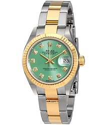 Rolex Lady Datejust Mint Green Diamond Dial Automatic Watch