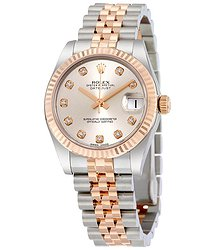 Rolex Lady Datejust Silver Diamond Dial Steel and 18K Everose Gold Jubilee Watch