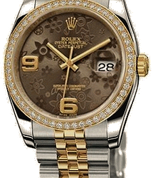 Rolex OysterBRONZE FLORAL DATEJUST LADIES 36MM STEEL AND YELLOW GOLD