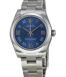 Rolex Oyster Perpetual 31 mm Azzuro Blue Dial Stainless Steel Bracelet Automatic Ladies Watch