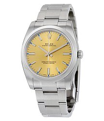 Rolex Oyster Perpetual 34 Champagne Dial Stainless Steel Bracelet Automatic Men's Watch