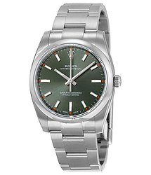 Rolex Oyster Perpetual 34 Green Olive Dial Stainless Steel Bracelet Automatic Unisex Watch