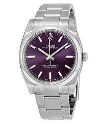 Rolex Oyster Perpetual 34 Purple Grape Dial Stainless Steel Bracelet Automatic Unisex Watch