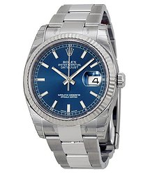 Rolex Oyster Perpetual 36 mm Automatic Blue Dial Stainless Steel Bracelet Men's Watch