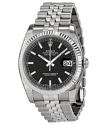 Rolex Oyster Perpetual 36 mm Black Dial Stainless Steel Jubilee Bracelet Automatic Men's Watch