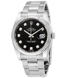Rolex Oyster Perpetual 36 mm Black Diamond Dial Bracelet Automatic Men's Watch