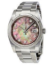 Rolex Oyster Perpetual 36 mm Black Mother of Pearl Dial Stainless Steel Bracelet Automatic Ladies Watch