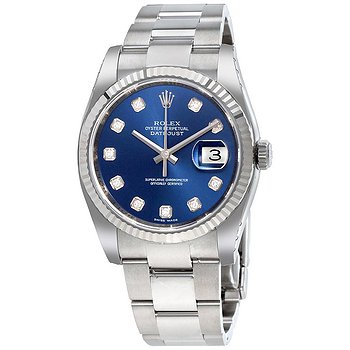 Купить часы Rolex Oyster Perpetual 36 mm Blue Dial Stainless Steel Bracelet Automatic Ladies Watch  в ломбарде швейцарских часов
