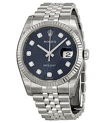 Rolex Oyster Perpetual 36 mm Blue Dial Stainless Steel Jubilee Bracelet Automatic Ladies Watch