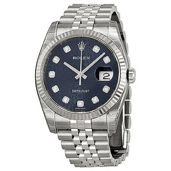 Купить часы Rolex Oyster Perpetual 36 mm Blue Dial Stainless Steel Jubilee Bracelet Automatic Ladies Watch  в ломбарде швейцарских часов