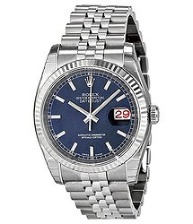 Rolex Oyster Perpetual 36 mm Blue Dial Stainless Steel Jubilee Bracelet Automatic Men's Watch 116234BLSJ