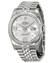 Rolex Oyster Perpetual 36 mm Silver floral Dial Stainless Steel Jubilee Bracelet Automatic Ladies Watch