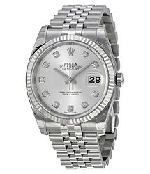Rolex Oyster Perpetual 36 mm Silver With 10 Diamonds Dial Stainless Steel Jubilee Bracelet Automatic Men's Watch 116234SDJ