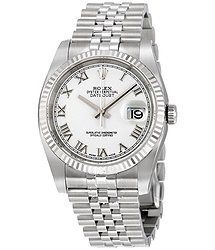 Rolex Oyster Perpetual 36 mm White Dial Stainless Steel Jubilee Bracelet Automatic Men's Watch