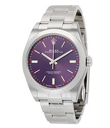 Rolex Oyster Perpetual 39 Red Grape Dial Stainless Steel Bracelet Automatic Men's Watch