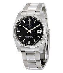 Rolex Oyster Perpetual Date 34 Black Dial Stainless Steel Bracelet Automatic Men's Watch