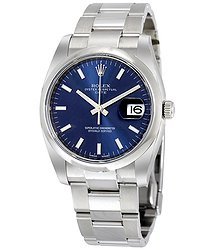 Rolex Oyster Perpetual Date 34 Blue Dial Stainless Steel Bracelet Automatic Men's Watch