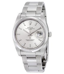 Rolex Oyster Perpetual Date 34 Silver Dial Stainless Steel Bracelet Automatic Men's Watch