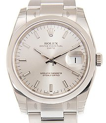 Rolex Oyster Perpetual Date Stainless Steel Silver Automatic 115200SV