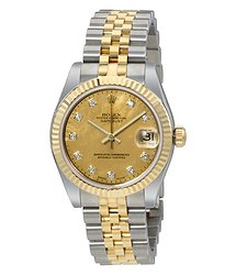 Rolex Oyster Perpetual Datejust 18 Carat Yellow Gold Jubilee Automatic Ladies Watch