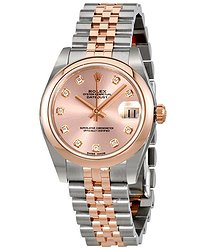 Rolex Oyster Perpetual Datejust 31 Pink Diamond Dial Ladies Two Tone Jubilee Watch