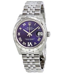 Rolex Oyster Perpetual Datejust 31 Purple Dial Stainless Steel Jubilee Bracelet Automatic Ladies Watch