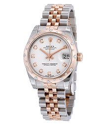 Rolex Oyster Perpetual Datejust 31 White Dial Stainless Steel and 18K Everose Gold Jubilee Bracelet Automatic Ladies Watch