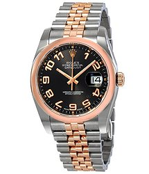 Rolex Oyster Perpetual Datejust 36 Black Concentric Circle Dial Stainless Steel and 18K Everose Gold Jubilee Bracelet Automatic Men's Watch