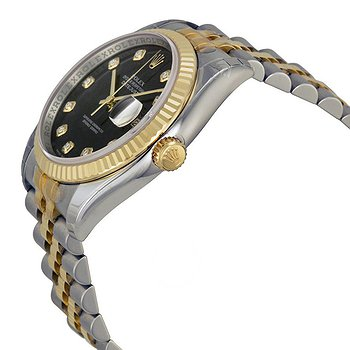 Купить часы Rolex Oyster Perpetual Datejust 36 Black With 10 Diamonds Dial Stainless Steel and 18K Yellow Gold Jubilee Bracelet Automatic Men's Watch 116233BKDJ  в ломбарде швейцарских часов
