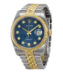 Rolex Oyster Perpetual Datejust 36 Blue Dial Stainless Steel and 18K Yellow Gold Jubilee Bracelet Automatic Men's Watch