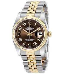 Rolex Oyster Perpetual Datejust 36 Brown Dial Stainless Steel and 18K Yellow Gold Jubilee Bracelet Automatic Men's Watch