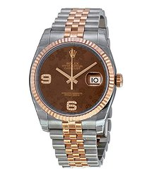 Rolex Oyster Perpetual Datejust 36 Brown Floral Dial Stainless Steel and 18K Everose Gold Jubilee Bracelet Automatic Men's Watch