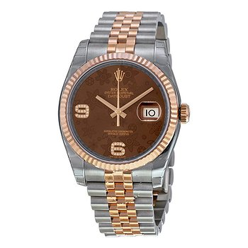Купить часы Rolex Oyster Perpetual Datejust 36 Brown Floral Dial Stainless Steel and 18K Everose Gold Jubilee Bracelet Automatic Men's Watch  в ломбарде швейцарских часов