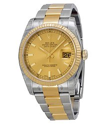Rolex Oyster Perpetual Datejust 36 Champagne Dial Stainless Steel and 18K Yellow Gold Bracelet Automatic Men's Watch 116233CSO