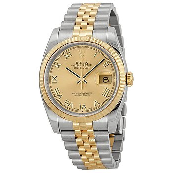 Купить часы Rolex Oyster Perpetual Datejust 36 Champagne Dial Stainless Steel and 18K Yellow Gold Jubilee Bracelet Automatic Men's Watch 116233CRJ  в ломбарде швейцарских часов