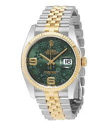 Rolex Oyster Perpetual Datejust 36 Green Floral Dial Steel and 18K Yellow Gold Jubilee Unisex Watch